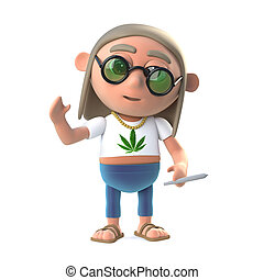 3d Stoner hippy waves a cheerful hello - 3d render of a...