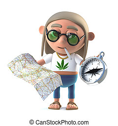 3d Stoner hippie reads the map - 3d render of a stoner hippy...