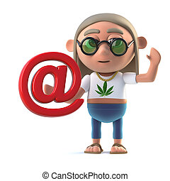 3d Hippy stoner has an email address - 3d render of a hippie...