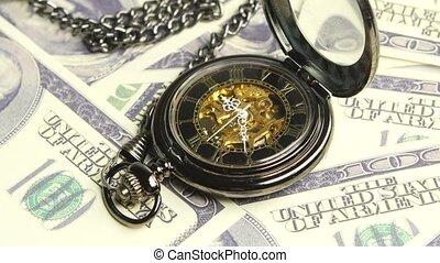 Skeleton antique clock. Close up