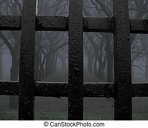 mystic park jail - foggy park behind solid iron fence...