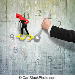 Man carrying red arrow balance on money sign clock hands with another holding, old wooden wall, 3D illustration