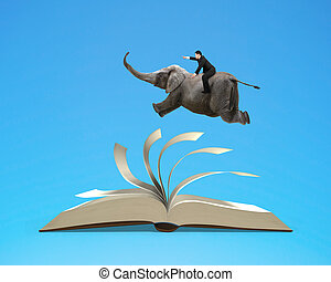 Man riding elephant flying on top flipping pages of open...