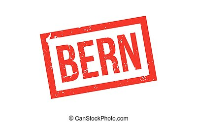 Bern rubber stamp on white. Print, impress, overprint.