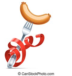 fork with sausage braided by red ribbon illustration,...
