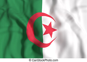 Algeria flag waving - 3d rendering of Algeria flag waving