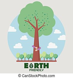 Hands hug green tree. Earth friendly concept
