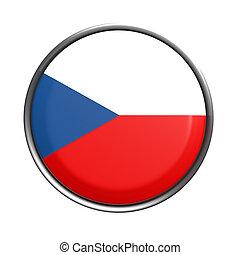 Button with Czech Rep flag - 3d rendering of Czech Rep...