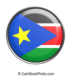 Silhouette of South Sudan button - 3d rendering of South...