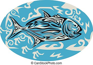 Giant Trevally Side Oval Tribal Art - Tribal art style...