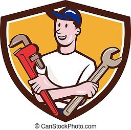 Handyman Spanner Monkey Wrench Crest Cartoon - Illustration...