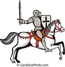 Knight Steed Wielding Sword Cartoon - Cartoon style...