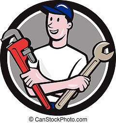 Handyman Spanner Monkey Wrench Circle Cartoon - Illustration...
