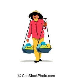 Vector Asian Vendor Cartoon Illustration. - Unidentified man...