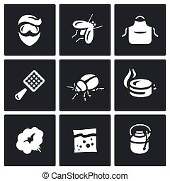 Vector Set of Disinfection Icons. Man, fly, apron, fly swatter, bug, trap, smoke, poison sprayer.