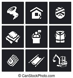Vector Set of Emergency Service Icons Hurricane, Earthquake,...