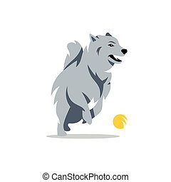 Vector Husky Dog Cartoon Illustration - Siberian Husky plays...