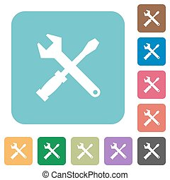 Flat tools icons on rounded square color backgrounds.