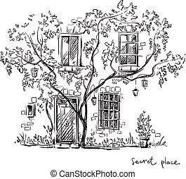 A secret place. Vector illustration