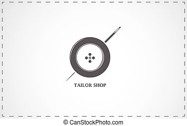Tailor shop icon - Tailor shop and sewing simbol with button...