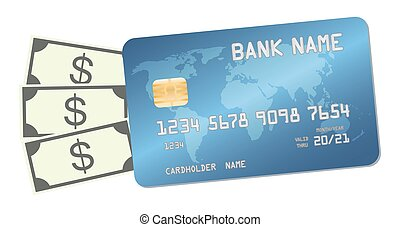 credit card  with money banknotes