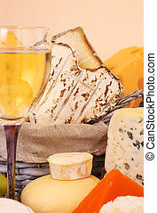 Cheese and wine - Various types of cheese and wine...