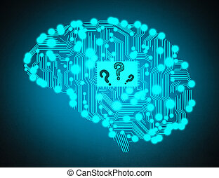 circuit board with question mark in form of human brain...