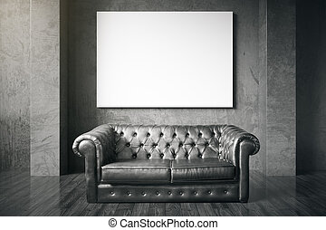 Couch and blank billboard - Luxurious black leather sofa and...