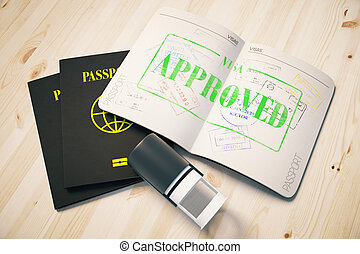Passport with approved visa - Passport with green approved...