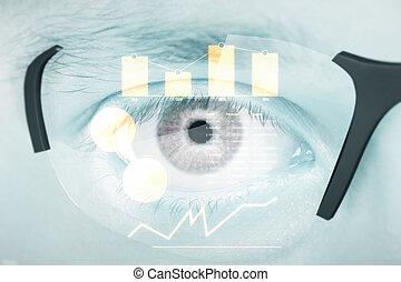 Hi-tech glasses with business chart - Closeup of human eye...