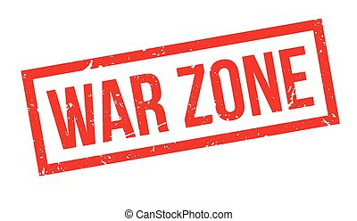 War zone rubber stamp on white Print, impress, overprint