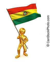 Men with flag. Bolivia. 3d