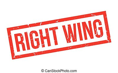 Right wing rubber stamp on white. Print, impress, overprint.