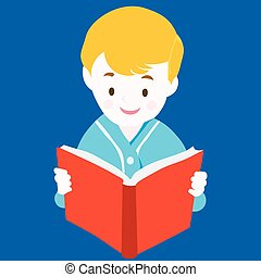 Child Reading Book - Vector - Vector Illustration:Reading...