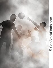 Football action - Editable vector illustration of goalmouth...