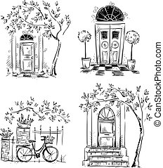 Set of architecture details drawings. Doors