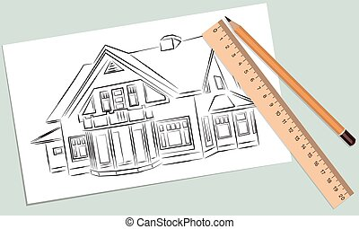 Sketch of house on a white piece