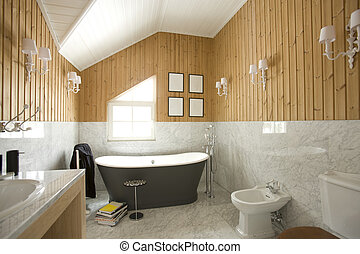 interior of bathroom in house with window