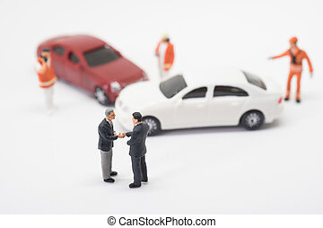 Car crash accident scene with the litigant compromised.