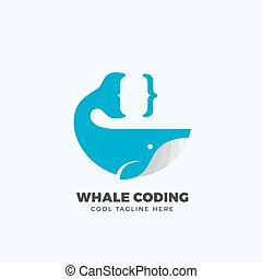 Whale Coding Abstract Vector Emblem, Label, Logo Template...