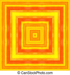 Bright orange watercolor square pattern background