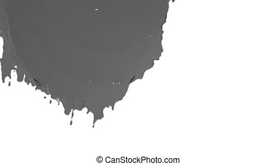 grey paint flowing down in slow motion - close-up view of...