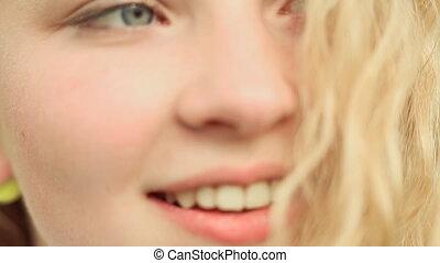 15 year-old girl's face closeup beautiful teenage girl