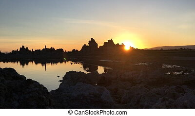 Sun Rising Behind South Tufa Mono Lake California USA -...