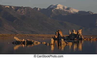 Birds Flying over Mono Lake at Sunrise - Sunrise at Mono...