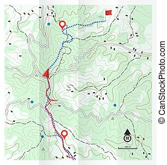 Abstract Topographic Map with Hiking Route Vector Background