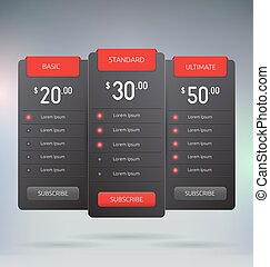 Pricing Tables Interface Mock Up Vector Template