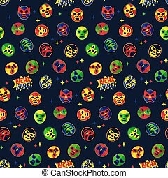 Mexican wrestling. Seamless Pattern. - Mexican Lucha Libre...