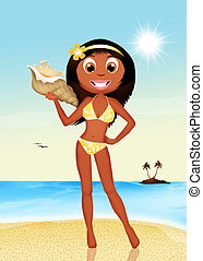 tanned girl - illustration of tanned girl