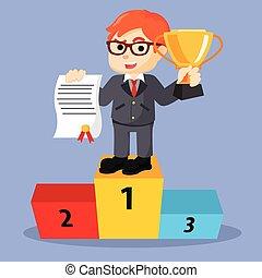 Business man winner first place